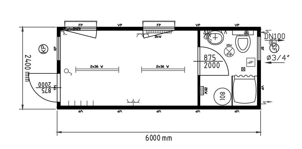 Monoblocchi uso ufficio con bagno laterale