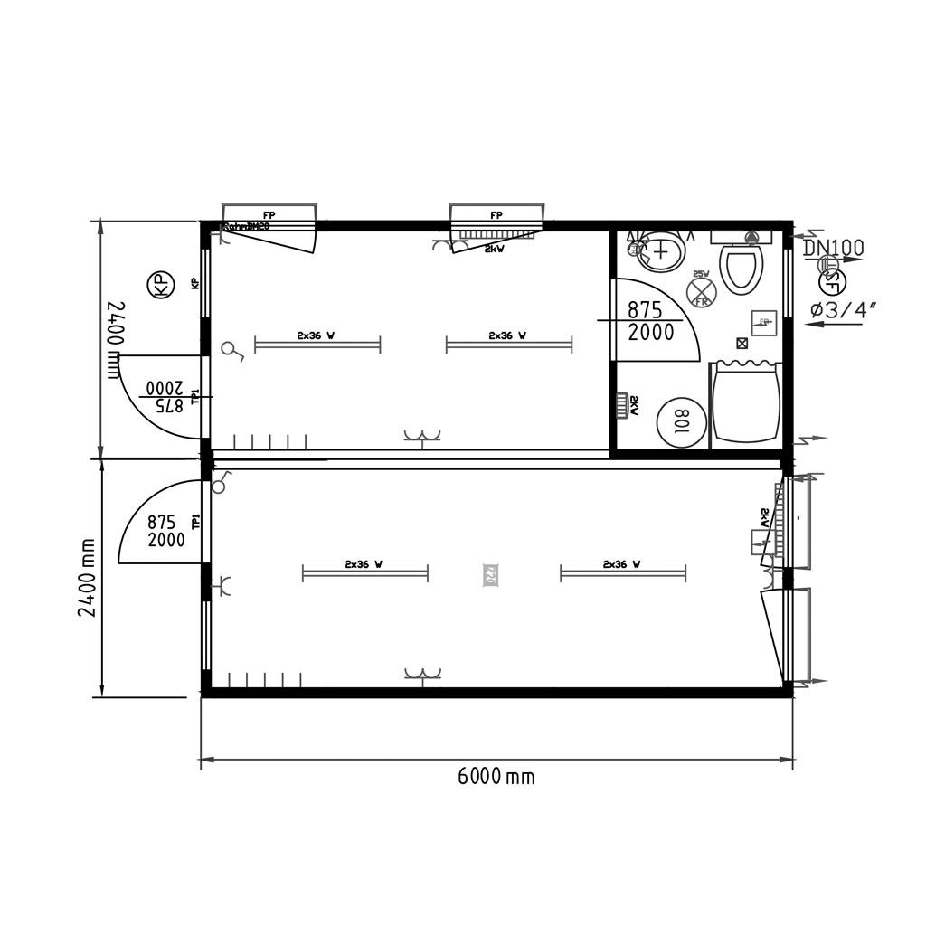 Monoblocchi uso Dormitorio e uso Mensa Accoppiati