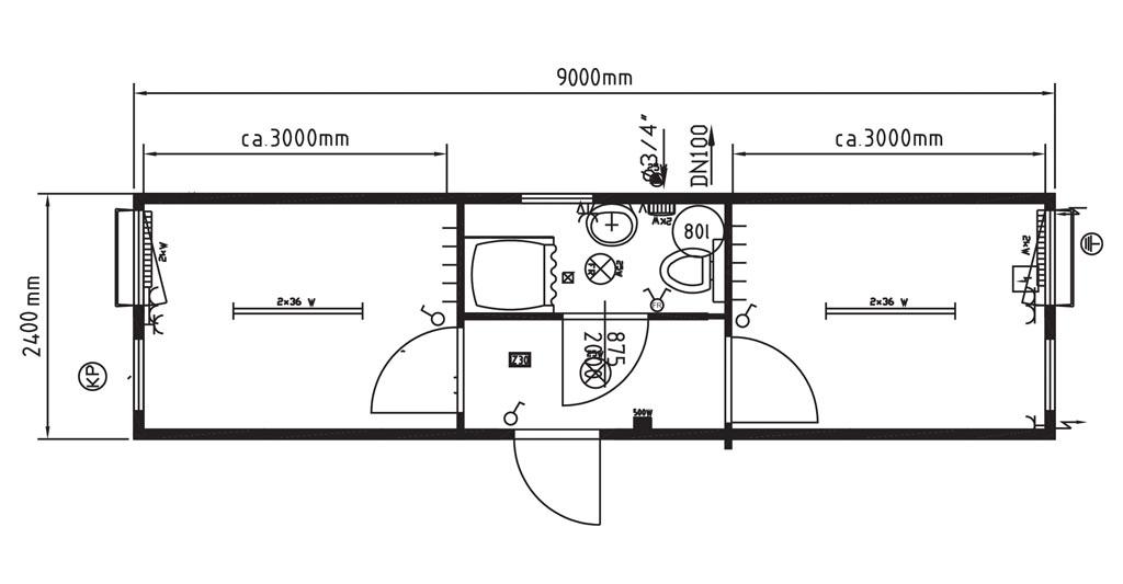 Monoblocchi uso dormitorio e uso mensa con bagno centrale